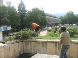 """Окосяват и почистват тревните площи на площад """"Форум"""""""