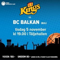 Във вторник отново Сьодертале Кингс  - Балкан, този път за ФИБА Къп